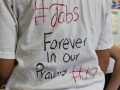 Shirts with uplifting messages were a common theme during the white out.