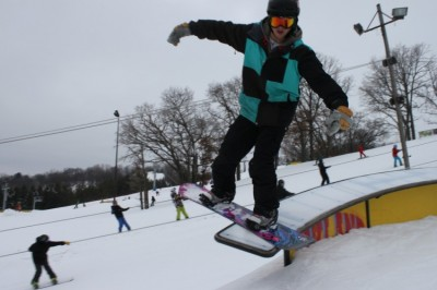 Seniors with snowboarding hobby take advantage of snow