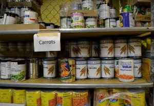 The food shelf in YouthLink's basement provides canned goods and produce for teens to eat themselves, to contribute the household they stay at, or to trade for a place to sleep.