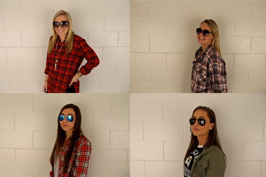 Senior+girls+show+off+their+sunglasses+for+spring+break.+