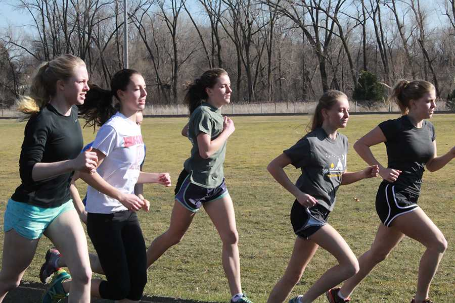 The off-season team stays in shape in the winter and early spring by doing workouts after school like doing intervals on the track.