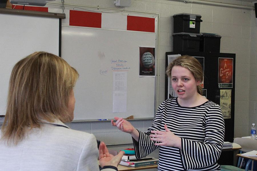 Junior Josie Ross practices her speech with Speech Head Coach Maura Brew.