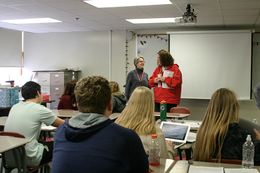 Team-teachers Megan Kern and Anne Marie Dominguez teach their american studies class with a high and positive energy like no other dynamic duo.