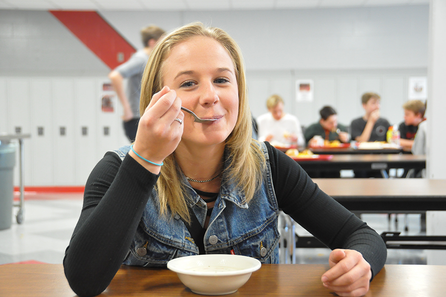 Senior Riley O'Connor was diagnosed with Celiac disease as a child, but has found gluten-free alternatives for lunch at Taher.