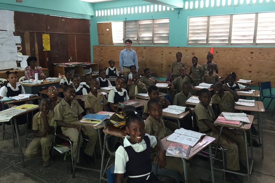 During+her+trip+to+Jamaica%2C+LeBlanc+and+her+son+helped+at+a+school+as+a+teaching+assistant.+Help+and+donations+were+appreciated+due+to+a+shortage+of+supplies+in+the+school.