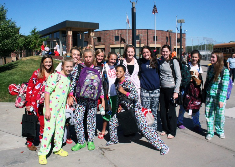 The+girls+swim+team+sported+pajamas+to+school+today+in+preparation+for+their+meet+against+rival+St.+Louis+Park+tonight.