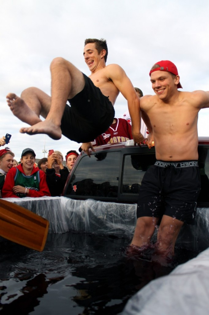 Before the game, BSM students gathered in the parking lot for some tailgating. This week senior TJ Moore created a pool of kool-aid in the back of his truck.