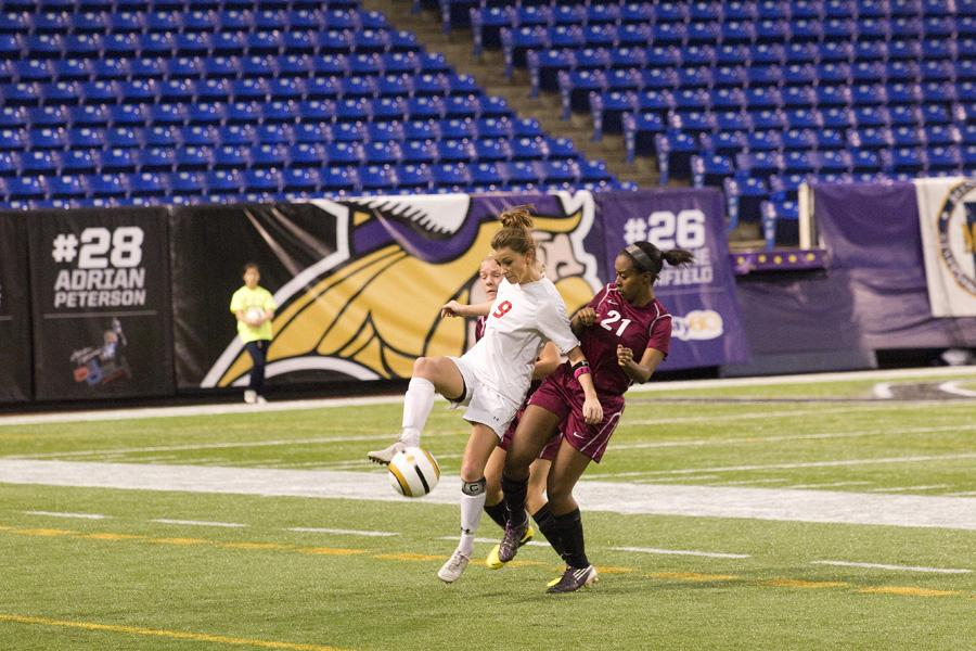 Senior+Dana+Buckhorn%2C+a+captain+and+forward+for+the+girls+soccer+team%2C+scored+the+Red+Knights+game+winning+goal+in+overtime+against+South+St.+Paul+in+the+State+Semifinal+game+at+the+Metrodome+on+Monday%2C+October+29.+