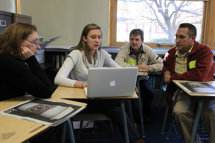 Visitors from Totino-Graces English department learned about how the BSM english teachers use the one-to-one laptop program by stopping in on the Journalism II class and speaking to editors and advisor Jason Wallestad.