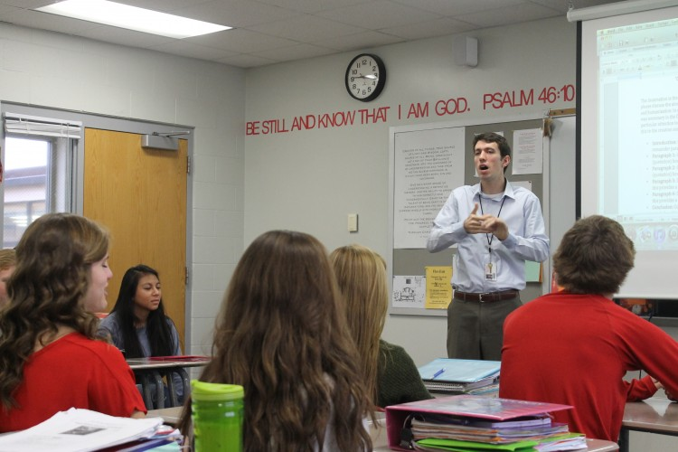 Religion teacher Mr. Joe Pedersen talks about principles from the former Death and Dying class in the sophomore Paschal Mystery class about.