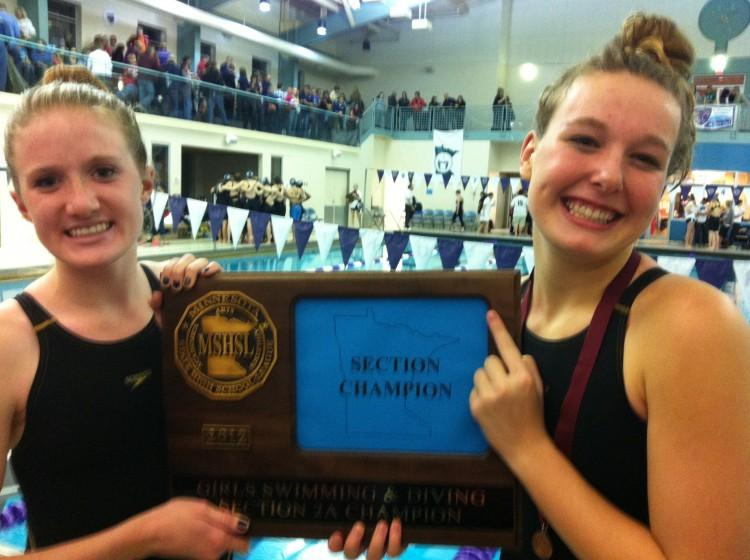 The+girls%27+swim+and+dive+team+took+home+the+section+championship+trophy+and+is+sending+eight+swimmers+and+one+diver+to+the+State+meet.