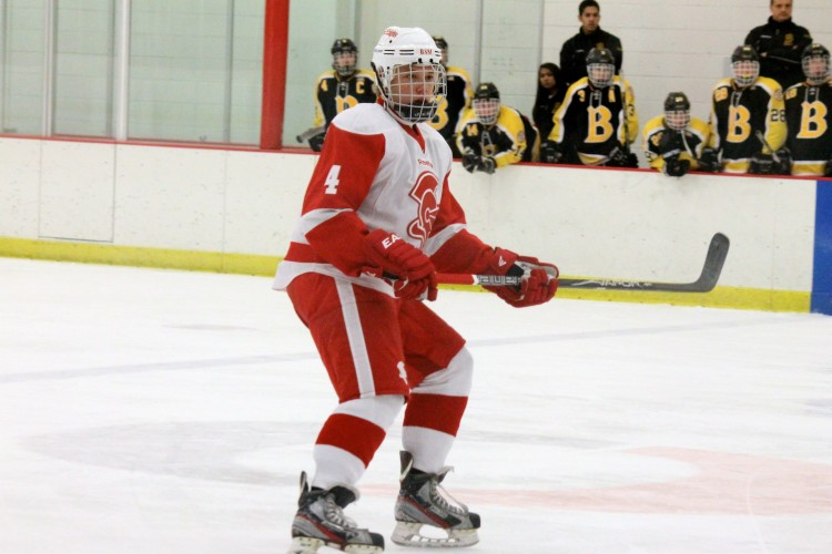 Junior defender Johnny Austin, also new to BSM this year, watches for the puck.