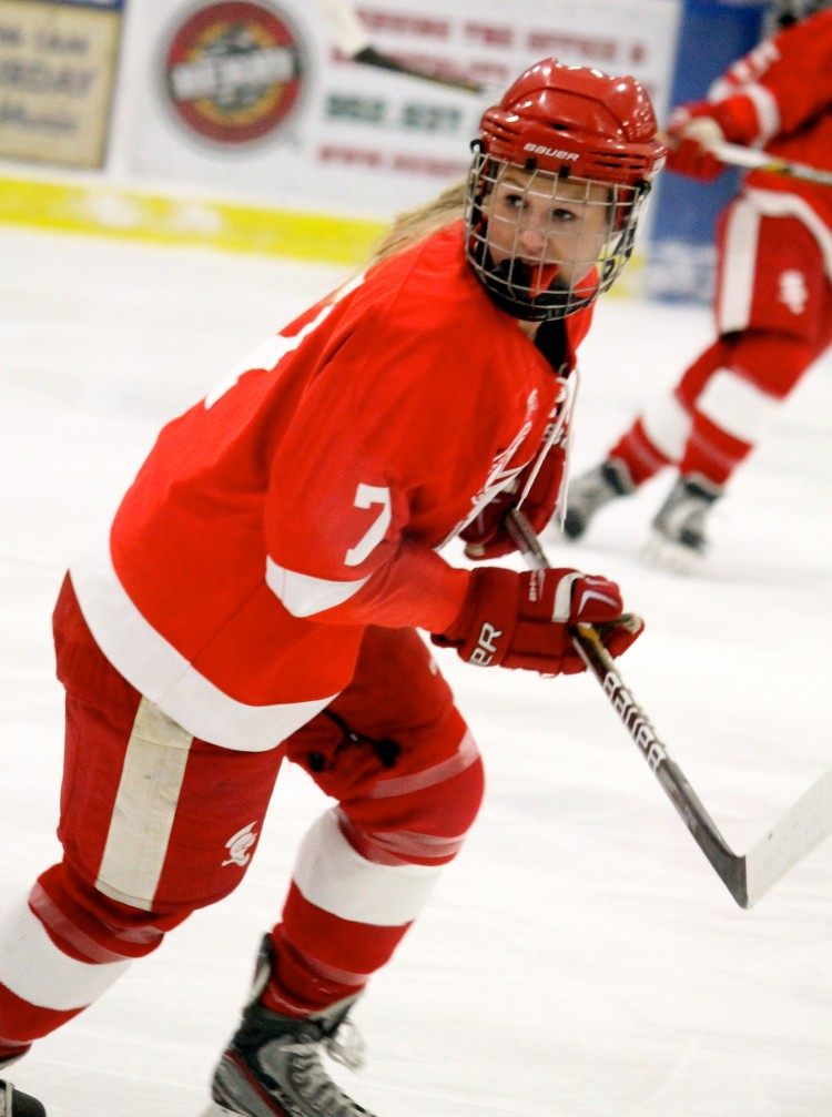 Senior defenseman Liv Halvorson waits for the puck to be passed to her.