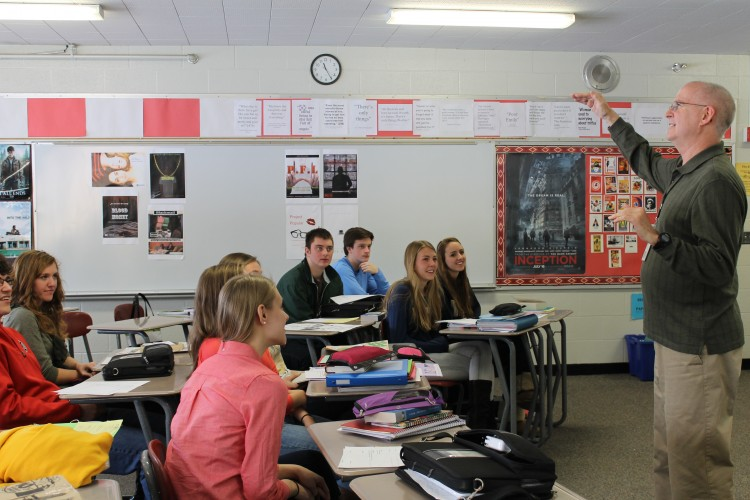 English teacher Mr. Tom Backen lectures during his AP Literature class