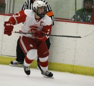 Mr. Hockey finalist Dan Labosky follows the play up the ice. (Carson Mark)