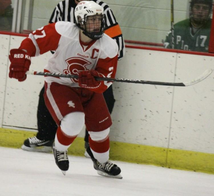 Mr. Hockey finalist Dan Labosky follows the play up the ice.
