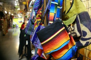 Colorful bags are on display at the Arte Hispano Center (Hollie Christensen).