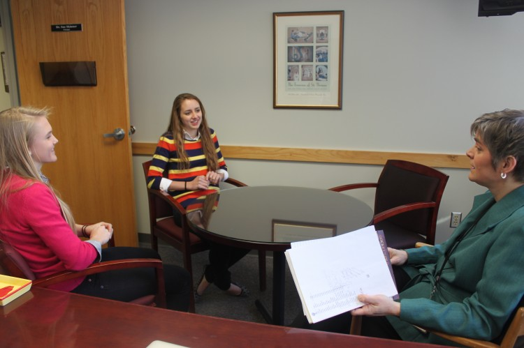 Dr. Sue Skinner held a meeting with some of this years valedictorians to talk about changes that will have to occur for the graduation ceremony.