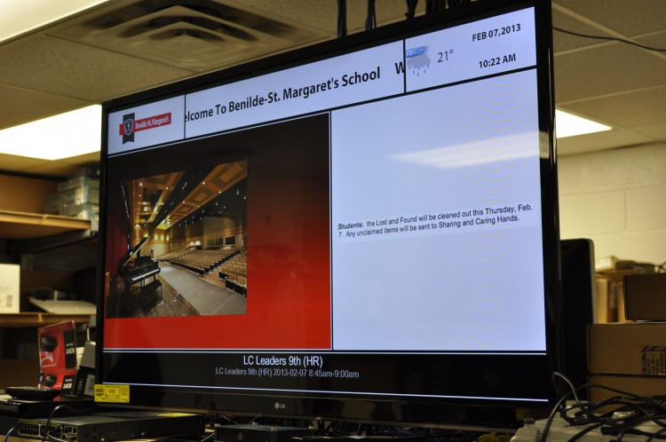 The technology department plans to install three advertising screens around the school within the next month.