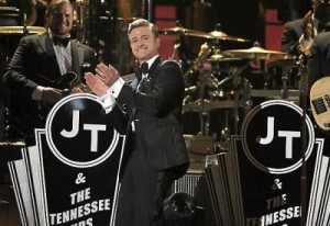 """Timberlake performed two songs off of his new album, """"Suit & Tie"""" and """"Pusher Love Girl,"""" at this years Grammy's."""