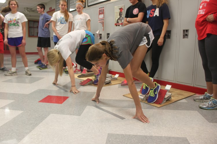 The BSM track team has been forced to practice inside for the past few weeks because of the snowy conditions and cold weather outside.