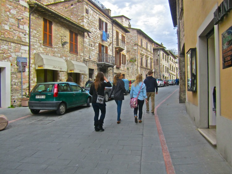 Students traveled on foot for most of the trip, walking around much of Rome and Assisi.