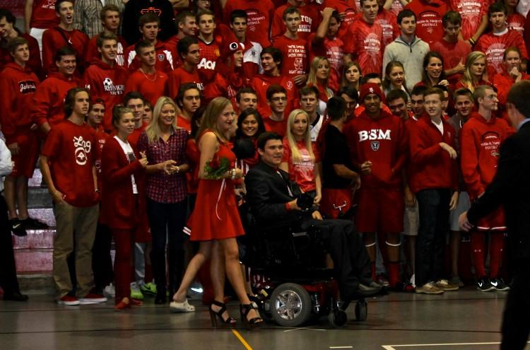 Homecoming week kicked off with coronation, where Jack Jablonski (pictured) was crowned king. His classmates wore red for class color day, as they cheered him on.