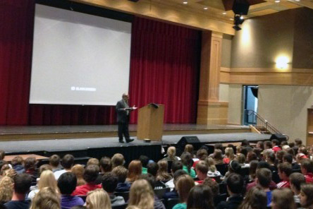 Sophomores, juniors, and seniors sat through the presentation on an assembly block day.