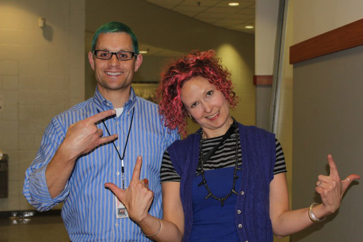 Due to the success of the clothing drive, two teachers dyed their hair.