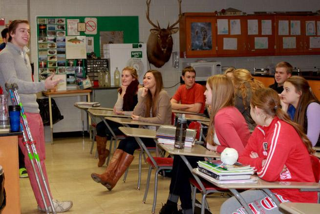 Junior Will Duda, talks to the Medical Club about future activities. Duda, the founder of the club, hopes that its meetings will help students to explore medical careers.