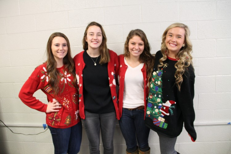 Students wore ugly Christmas sweater to get in the Holiday mood.