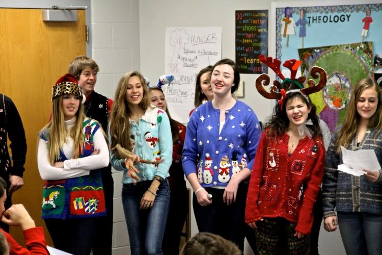 Luckily, caroling coincided with the unofficial Ugly Christmas Sweater day and these French students were able to showcase their worst Holiday attire.