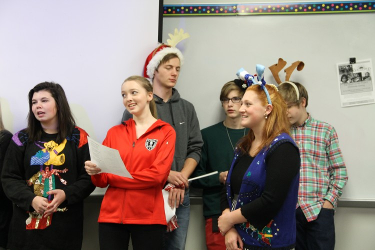 Students were able to don christmas themed props such as antlers and bells.