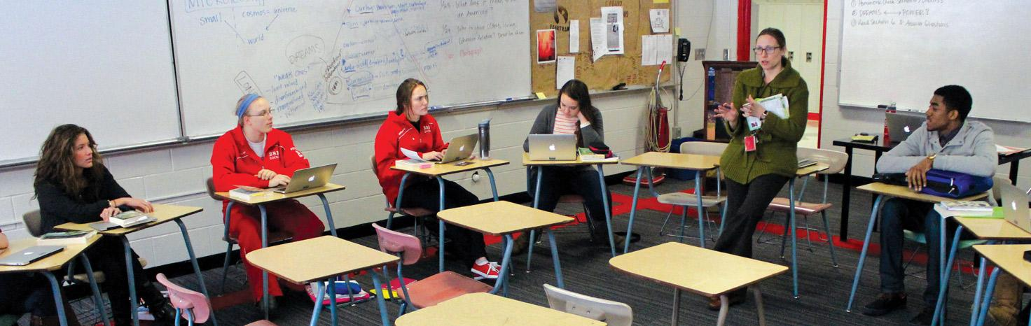 The Immigrant Literature class meets in a discussion style led by Ms. Belanger. In its first semester, the class looks to explore the immigrant cultures of Minnesota and the United States through literature and sometimes personal experience.