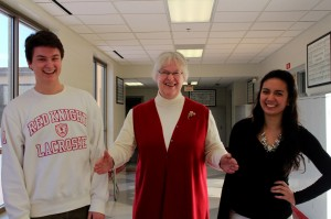 juniors Natalie and Will with teacher Sister Jeanne