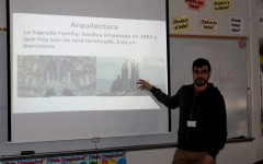 Mr. Javier Fernández Albar of Spain presents a PowerPoint on Spanish culture to eager participants in a second hour Spanish class. With two amities coming from Spanish speaking countries and one with an extensive knowledge of French, the goal of these assistants is to make BSM students more aware of other cultures and develop a greater knowledge of foreign languages.