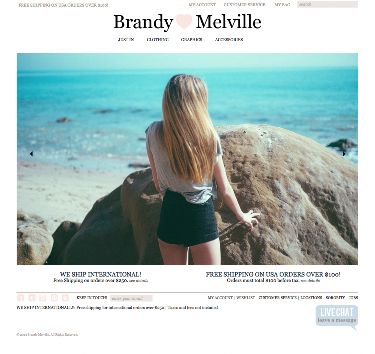 Brandy Melville is one online shop out of many that is filled with many inexpensive and cute clothes.
