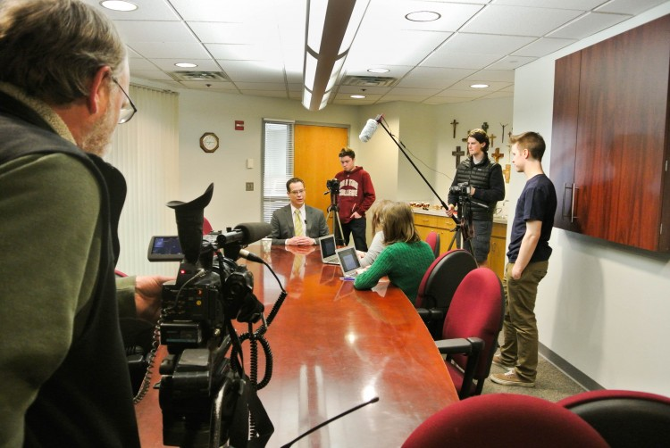 Staff from news station Kare11 came to cover the announcement of BSM hiring of Gyolai.