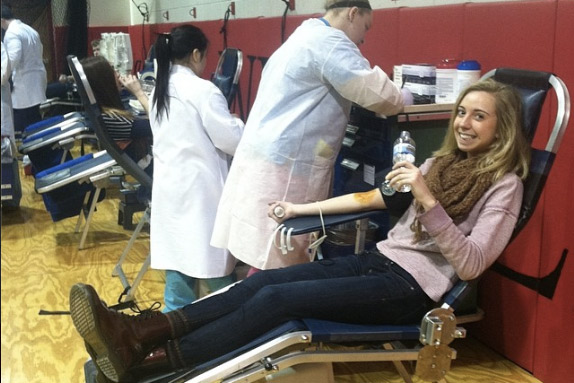 Students are given water and snacks after donating, in order to keep their blood sugar up.