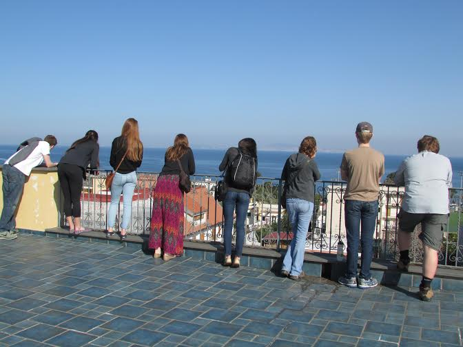The Italian voyageurs look out over the Mediterranean Sea while visiting the city of Florence. This was one of the nine cities visited by the group in a ten day period.