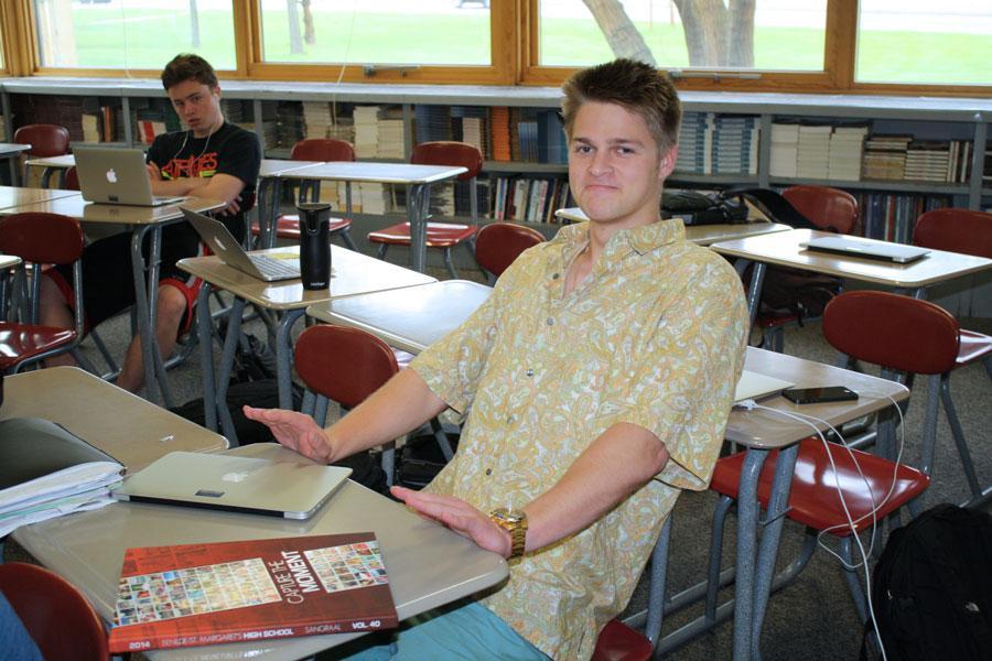 """Cracking my back on the desks"" –Max Preus"
