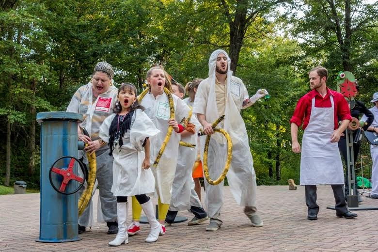 Freshman Josie Ross (center) and other Mixed Precipitation Theatre Company's actors perform in the annual 'Picnic Operetta'. Ross has been a cast member of this production for the last two summers.
