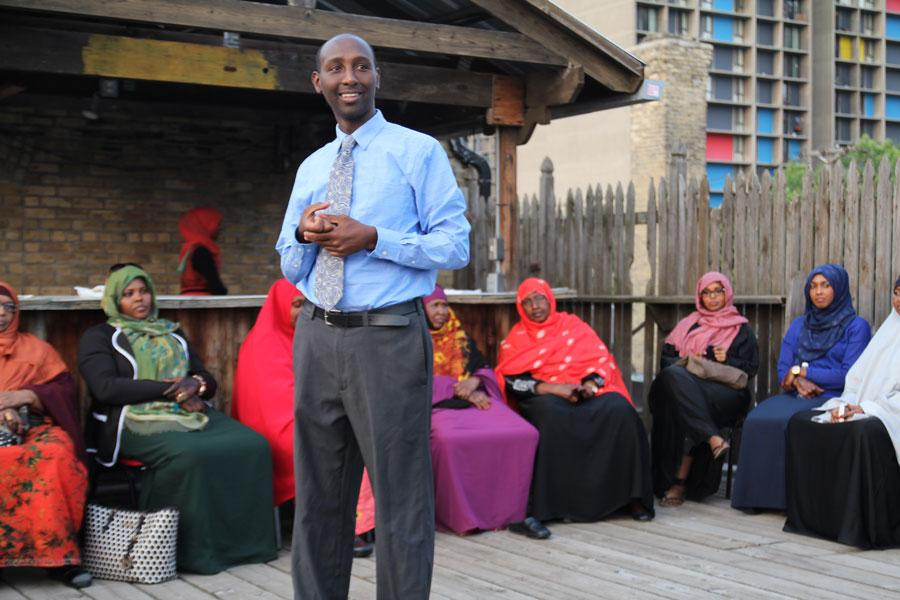 Mohamud Noor, candidate in District 60B, speaks at a Get Out the Vote campaign event in the final weeks of the race.