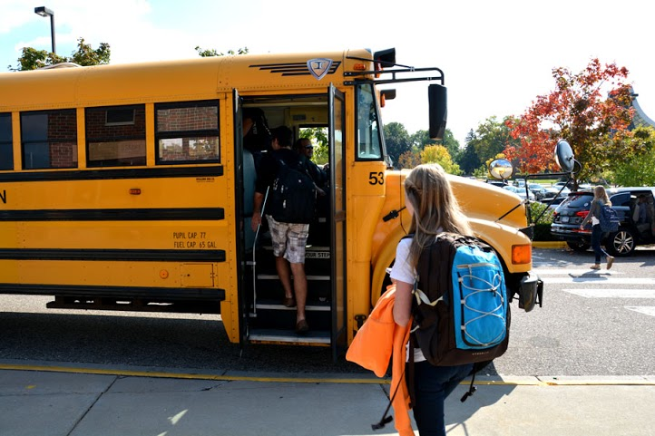Students shuttled to school from the Jewish Community Center on Thursday and Friday.