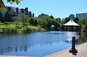 The water and greenery of Centennial Lakes makes it a popular location for Homecoming go-ers.