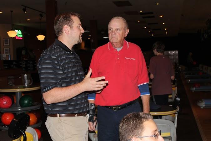 Bowling coaches Mr. John Sabol and Mr. Doug Burnikel discuss