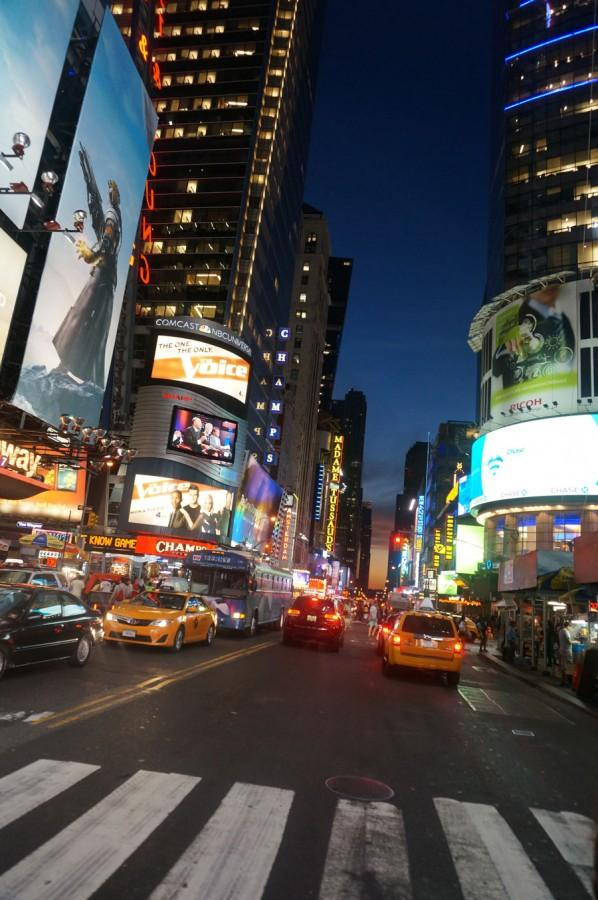 Times Square has an overwhelming amount of lights and people