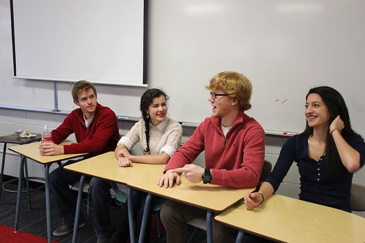 Seniors Mark Falls, Jackie Lawyer, Tommy Borin, and Keara Clacko, all in relationships, gave advice during freshmen health classes.