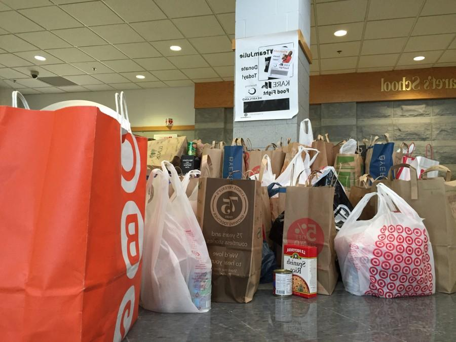 Students gathered food on Monday and Tuesday for the Kare 11 Food Fight.