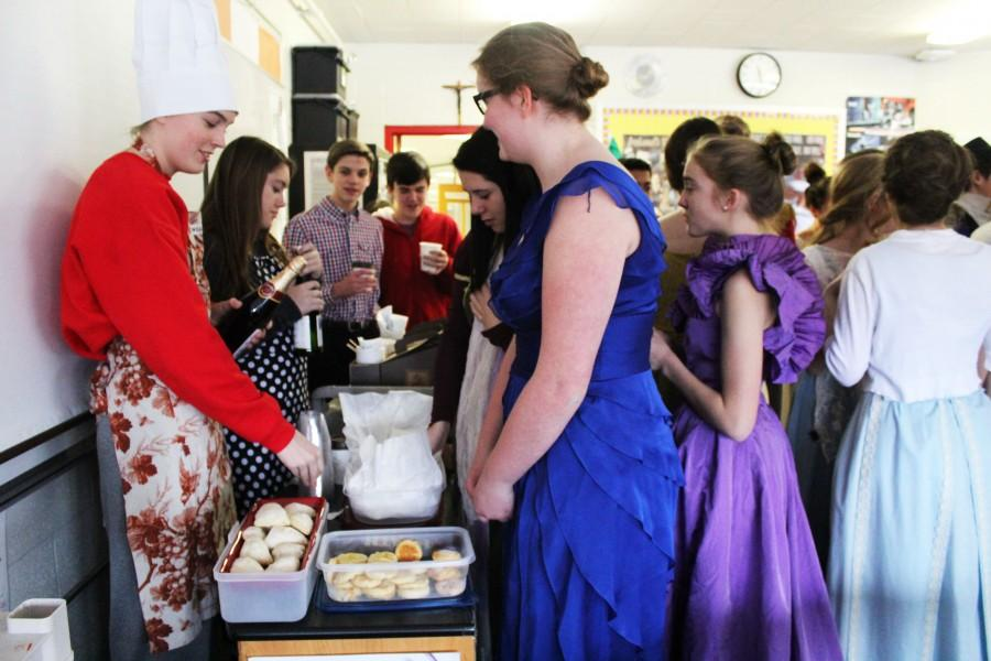 Students in the Honors English 9 class dressed up in 1800's attire and enjoyed British foods for their unconventional final.
